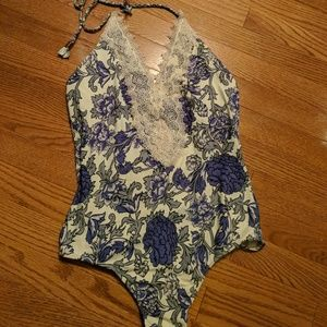 Anthropologie lace front lavender floral maillot